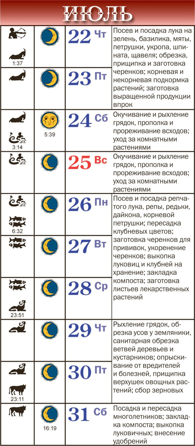 Лунный календарь на июль 2021 года